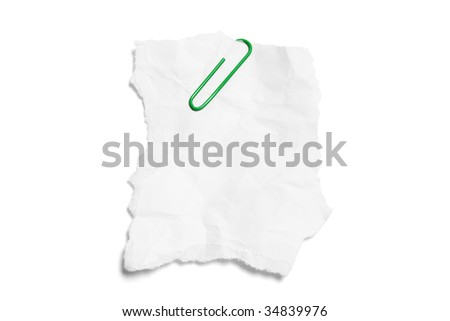 Torn Paper with Paperclip on White Background - stock photo