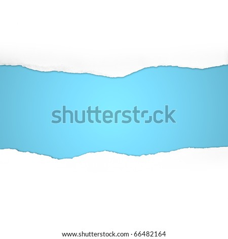 Torn  Paper with space for text on blue background - stock photo