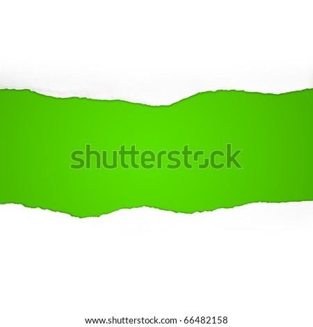 Torn  Paper with space for text on green background - stock photo