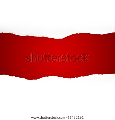 Torn Paper with space for text on red background - stock photo