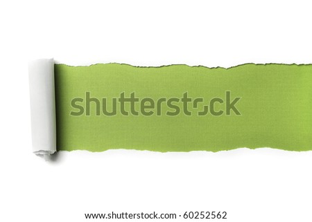 Torn Paper with space for text showing a blue background - stock photo