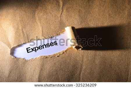 torn paper with word Expenses - stock photo