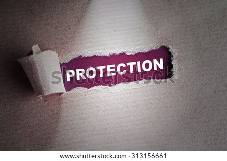 Torn paper with word Protection - stock photo