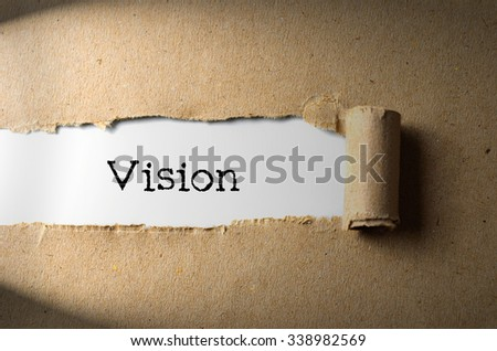 Torn paper with word Vision - stock photo