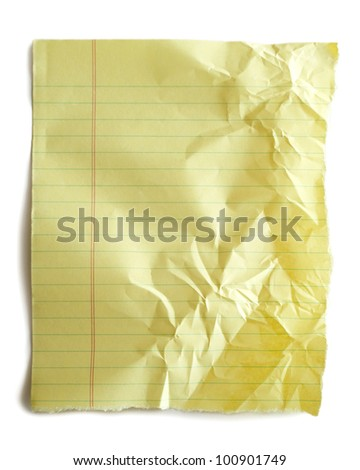 Torn piece of crumpled notebook paper isolated on white. - stock photo