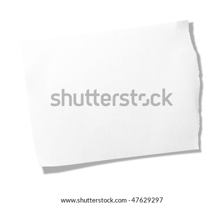 Torn piece of memo pad paper isolated on pure white.