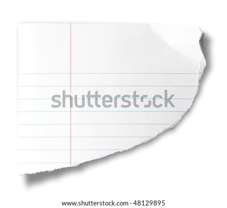 Torn piece of notebook paper, isolated on white. - stock photo