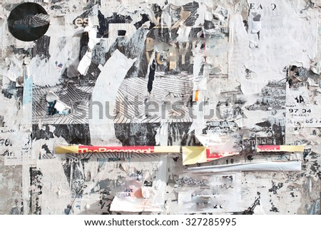 torn poster - stock photo