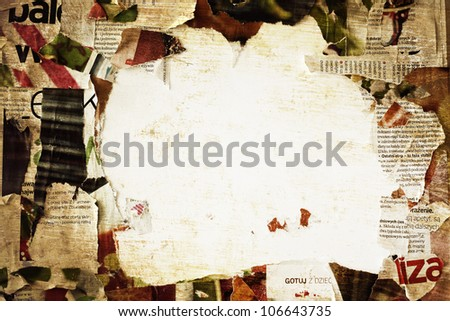 torn poster paper frame grunge background concept - stock photo