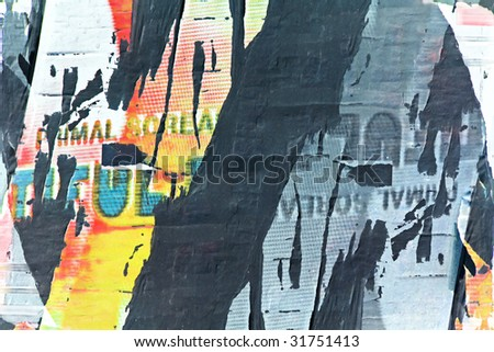 torn posters background - stock photo