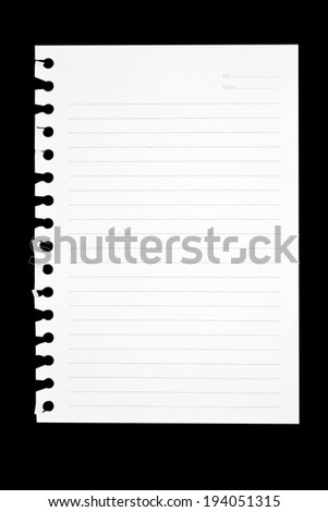 Torn Sheet of Paper From Spiral Notebook on black background,  file includes a excellent clipping path