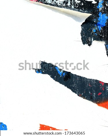 Torn street posters / Torn paper / Art / Peeling paint / Grunge background / Graffiti - stock photo