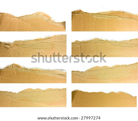 Torn strips of corrugated cardboard - high definition photo - stock photo