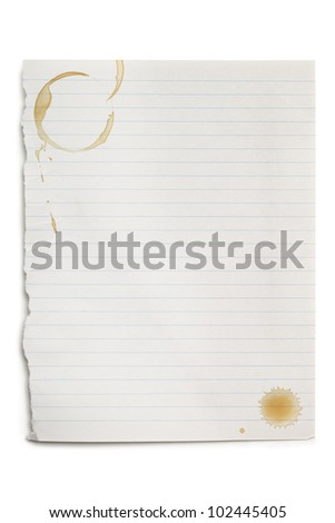 Torn white notepaper with coffee stains, isolated on white with soft shadow. - stock photo
