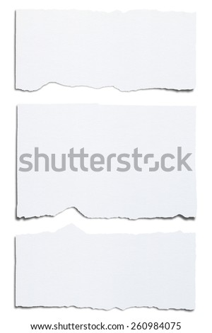 Torn white paper. Isolated on white background with clipping path. - stock photo