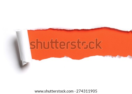 Torn white paper with orange color as background - stock photo