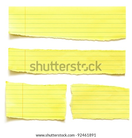 Torn yellow paper, isolated on white with soft shadow. - stock photo