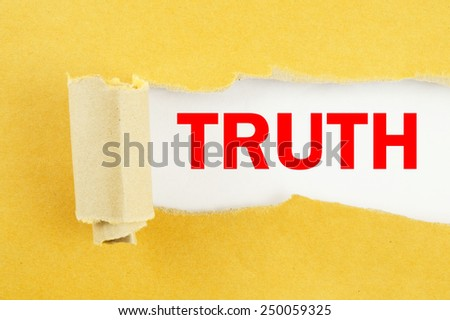 Torn yellow paper with word truth on white background  - stock photo