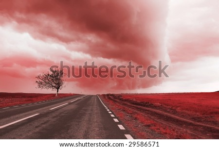 tornado clouds - stock photo