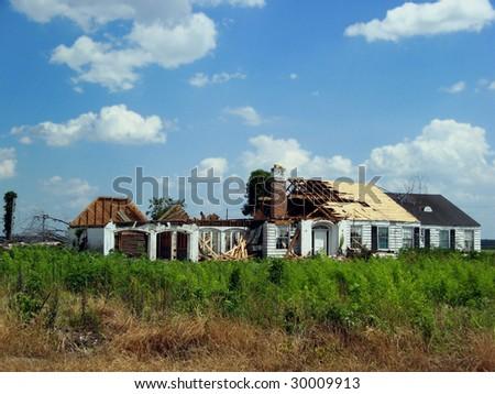 tornado damage house - stock photo
