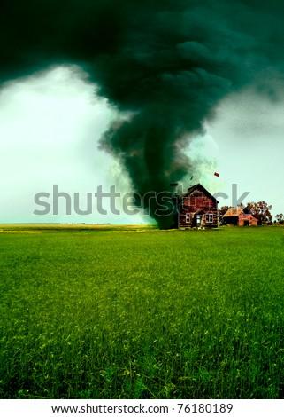Tornado destroying a house - stock photo