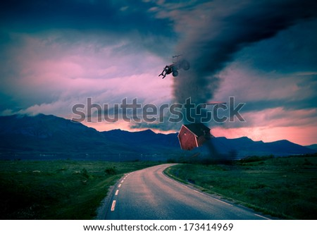 tornado getting closer  - stock photo