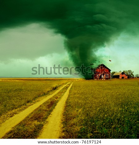 Tornado hitting a house - stock photo