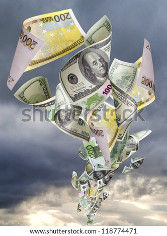 Tornado of green dollars and euro banknotes - stock photo