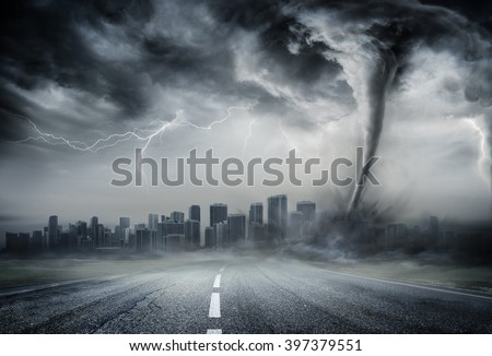 Tornado On The Business Road - Dramatic Weather On City  - stock photo