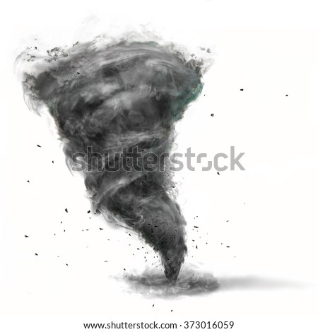 tornado on white background - stock photo