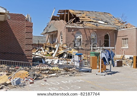 Tornado ripped through homes & business, life's were lost, this church was destroyed - stock photo