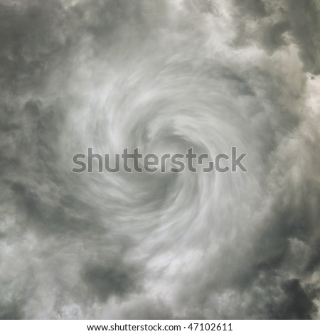 Tornado - sky with storm clouds - stock photo