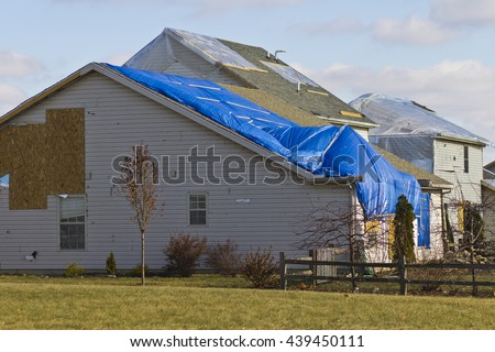 Tornado Storm Damage - Catastrophic Wind Damage from a Midwest Tornado V - stock photo