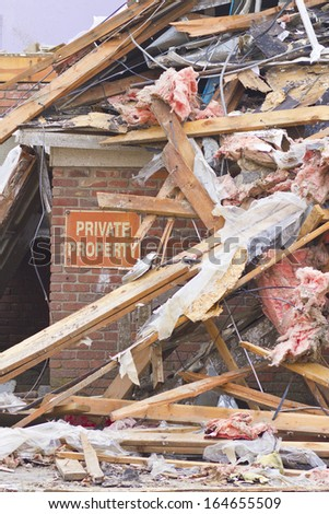 Tornado Storm Damage II - Catastrophic Wind Damage from a Midwest Tornado - stock photo
