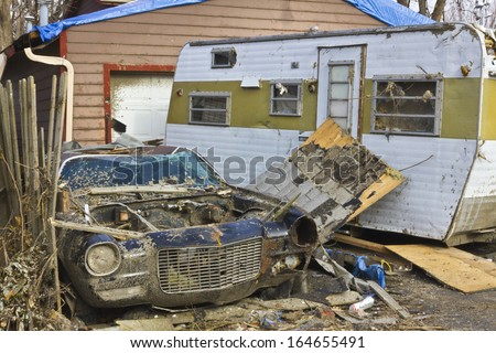 Tornado Storm Damage IV - Catastrophic Wind Damage from a Midwest Tornado - stock photo