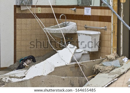 Tornado Storm Damage IX - Catastrophic Wind Damage from a Midwest Tornado - stock photo