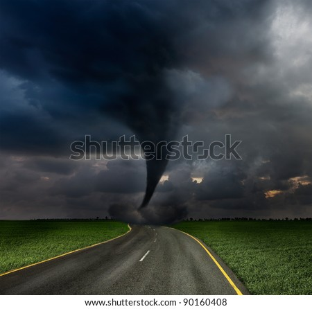 Tornado twister on road - stock photo