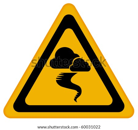 Tornado warning sign - stock photo