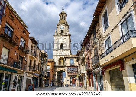 Toro, Spain - March 22, 2016: Clock tower in front of the market, tourist cultural center of the city of Toro province of Zamora. Spain