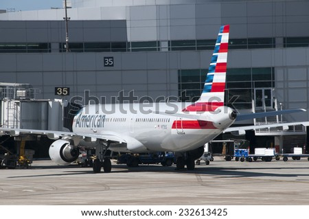 TORONTO AIRPORT, TORONTO CANADA - SEPTEMBER 22, 2014: American Airline at the gate - stock photo