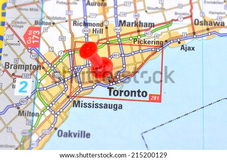 Toronto and Map - stock photo