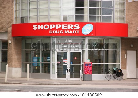 TORONTO - APRIL 8: A Shoppers Drug Mart store on April 8, 2011 in Toronto. Shoppers Drug Mart Corporation is Canada's largest pharmacy chain with more than 1,241 stores.
