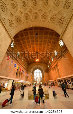 TORONTO, April 14: Union Station, iconic historic building in Beaux-Art style, has been the biggest and busiest railway terminal in Canada since 1920s, taken on April 14, 2013 in Toronto, Canada - stock photo