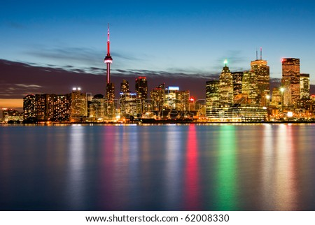 Toronto at night, Canada - stock photo