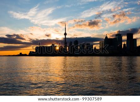 Toronto at sunset, Canada - stock photo