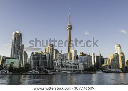 TORONTO - AUG 3, 2015: The Toronto, Canada city skyline at from the west during late afternoon. - stock photo