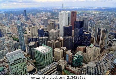 TORONTO-AUGUST 21, 2014: Aerial view of downtown Toronto. With the population estimate of close to 3 million people Toronto is the fourth most populous city in North America. - stock photo