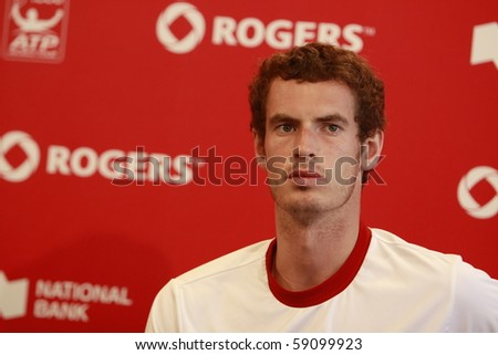 TORONTO: AUGUST 15. Andy Murray on the press conference after the tournament with Roger Federer in the Rogers Cup 2010 finals on August 15, 2010 in Toronto, Canada. - stock photo