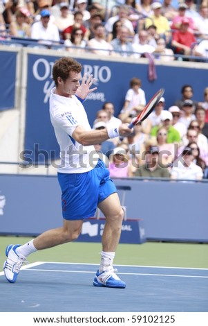 TORONTO: AUGUST 15. Andy Murray plays against Roger Federer in the Rogers Cup 2010 finals on August 15, 2010 in Toronto, Canada. - stock photo