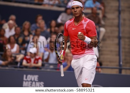 TORONTO - AUGUST 11: Rafael Nadal (picture) plays against Stanislas Wawrinka  in the Rogers Cup 2010 on August 11, 2010 in Toronto, Canada. - stock photo